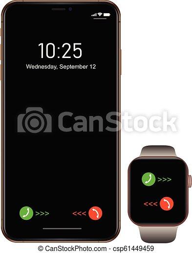 smartphone, telefon, ruchomy, gatunek, smartwatch, realistyczny, czarnoskóry, nowy - csp61449459