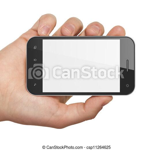 Mantiene el teléfono en blanco. Un móvil inteligente, 3d. - csp11264625