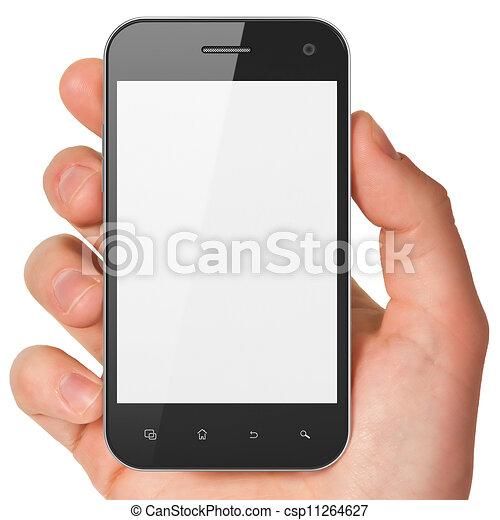 Mantiene el teléfono en blanco. Un móvil inteligente, 3d. - csp11264627