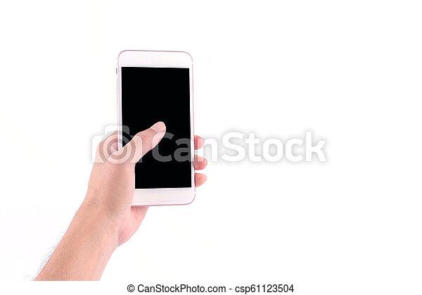 smartphone, tenue, écran, isolé, fond, mains, toucher, blanc, homme - csp61123504