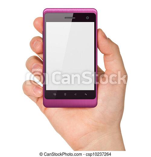 smartphone, tenue, render, générique, main, arrière-plan., téléphone portable, blanc, intelligent, 3d - csp10237264