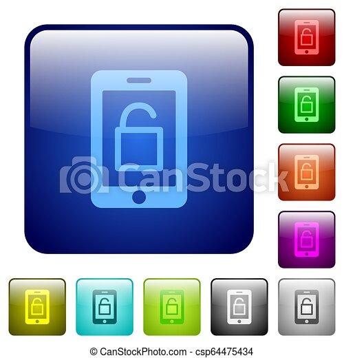 Smartphone unlock color square buttons - csp64475434