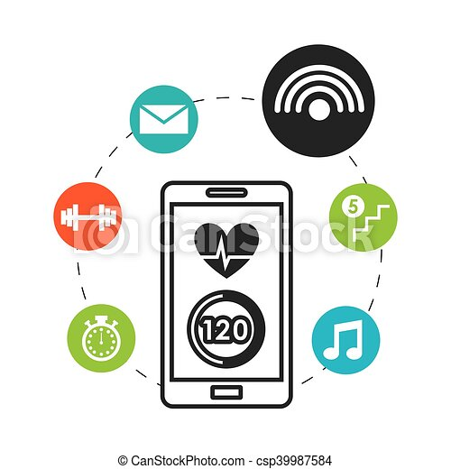 smartphone wearable technology icons vector illustration vector rh canstockphoto com Contact Us Icon clipart technology icons