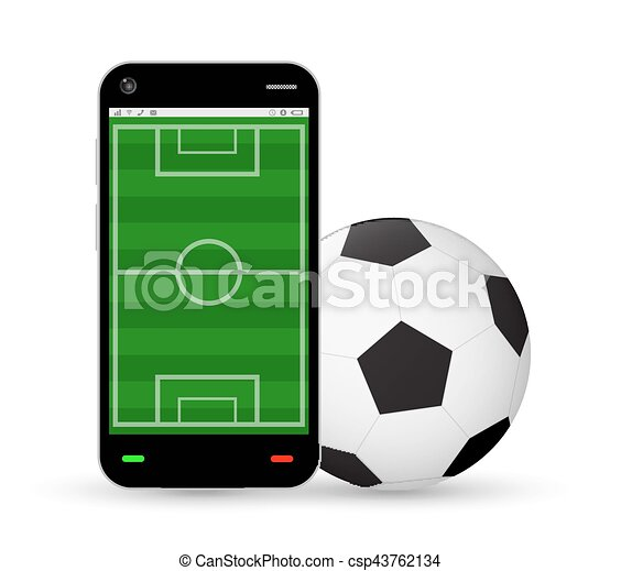 smartphone with a football field and soccer football - csp43762134