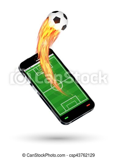 smartphone with a football field and burning soccer football - csp43762129