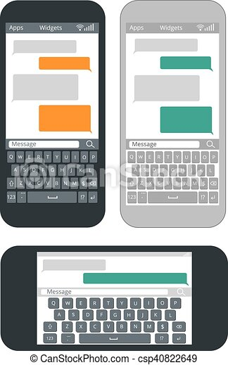 smartphone with blank text message bubbles and keyboard vector