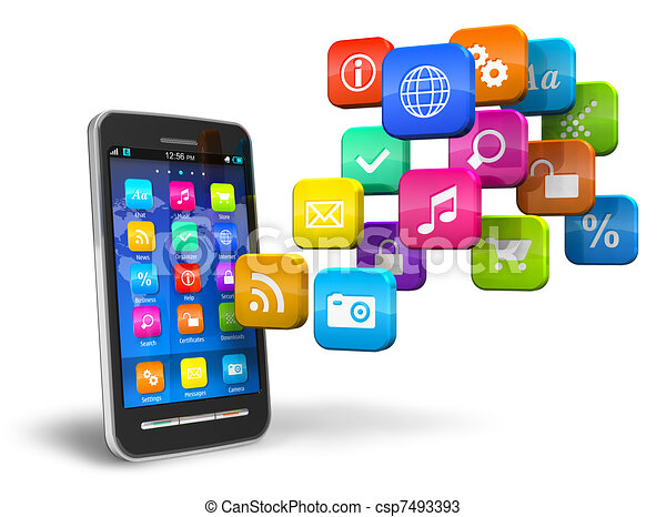 Smartphone with cloud of application icons - csp7493393
