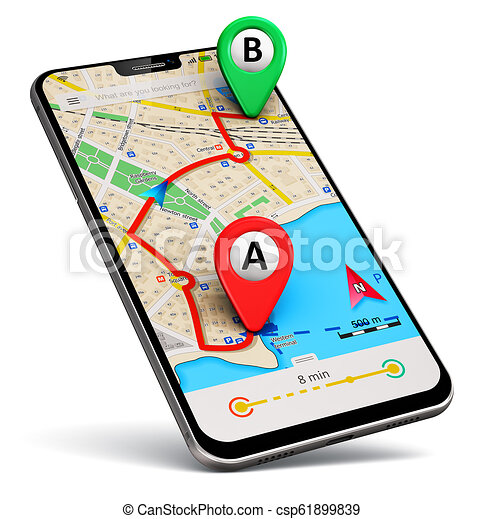 Smartphone with gps map navigation app. Creative abstract gps satellite navigation, travel, tourism and location route