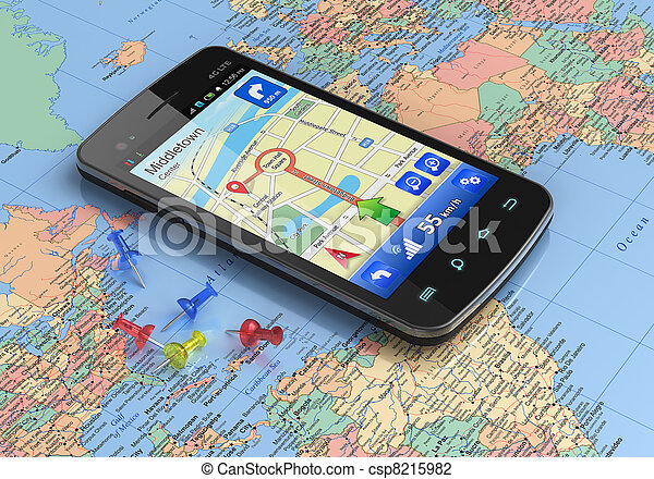 Smartphone with GPS navigation on world map - csp8215982