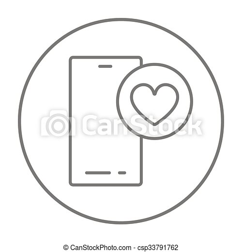 Smartphone with heart sign line icon. - csp33791762