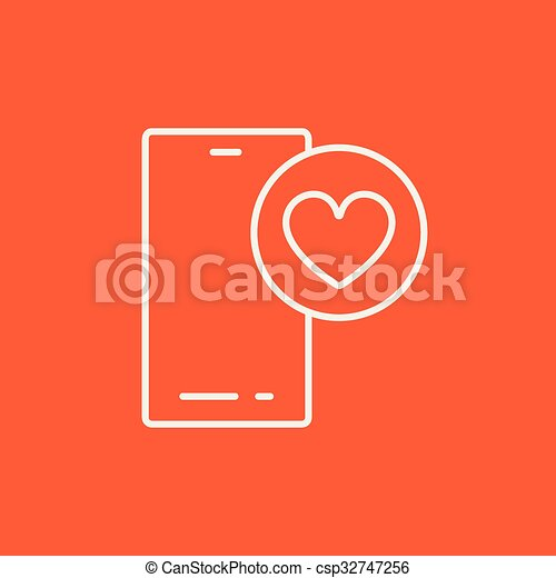 Smartphone with heart sign line icon. - csp32747256