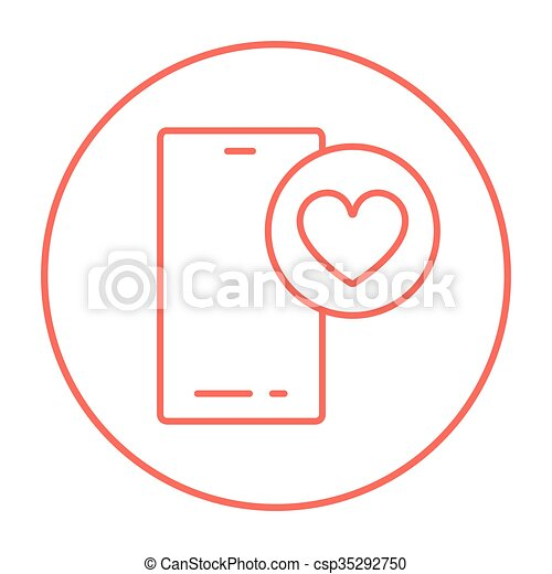Smartphone with heart sign line icon. - csp35292750