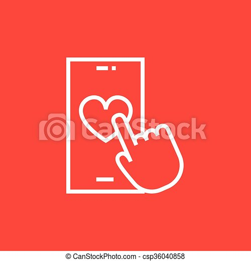 Smartphone with heart sign line icon. - csp36040858