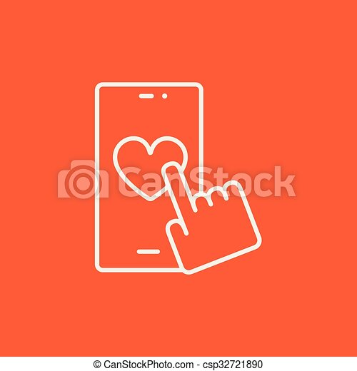 Smartphone with heart sign line icon. - csp32721890