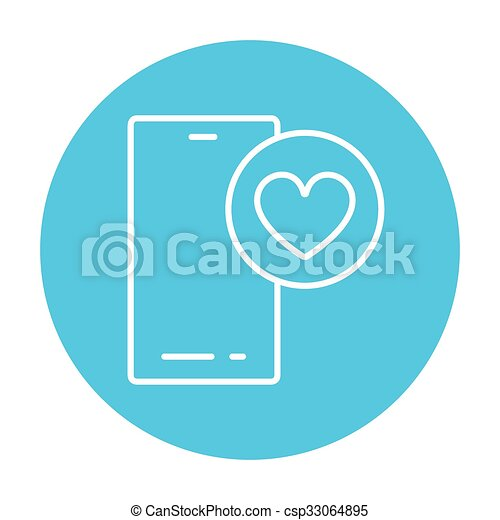 Smartphone with heart sign line icon. - csp33064895