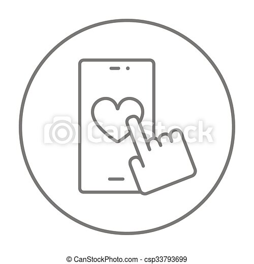 Smartphone with heart sign line icon. - csp33793699