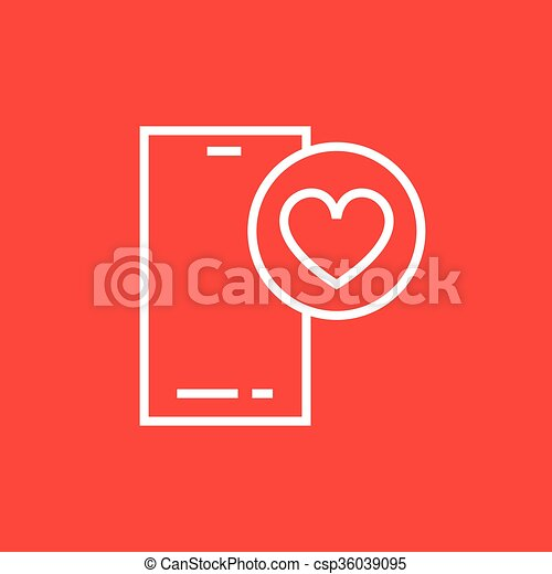 Smartphone with heart sign line icon. - csp36039095