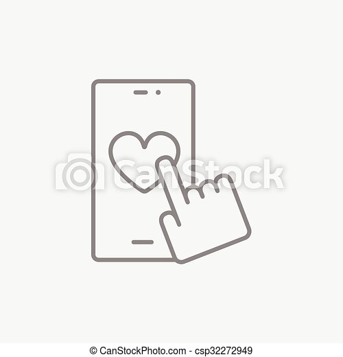 Smartphone with heart sign line icon. - csp32272949