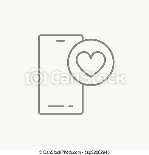 Smartphone with heart sign line icon. - csp32282943