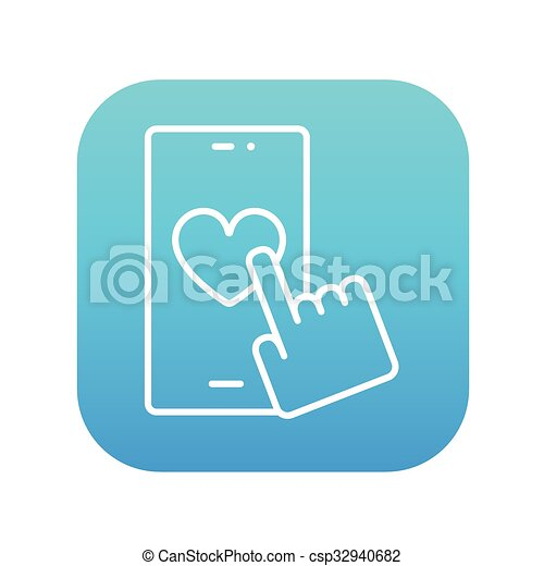 Smartphone with heart sign line icon. - csp32940682