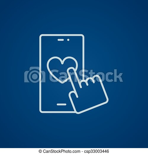 Smartphone with heart sign line icon. - csp33003446