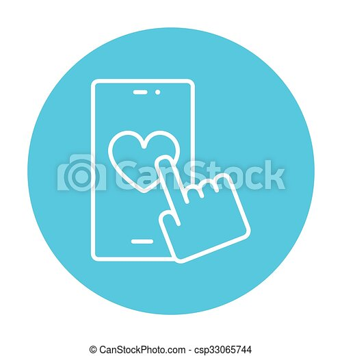 Smartphone with heart sign line icon. - csp33065744