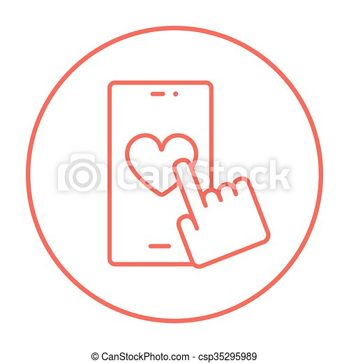 Smartphone with heart sign line icon. - csp35295989