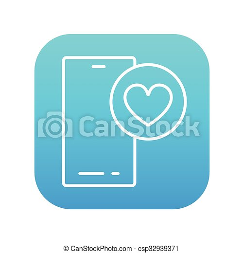 Smartphone with heart sign line icon. - csp32939371