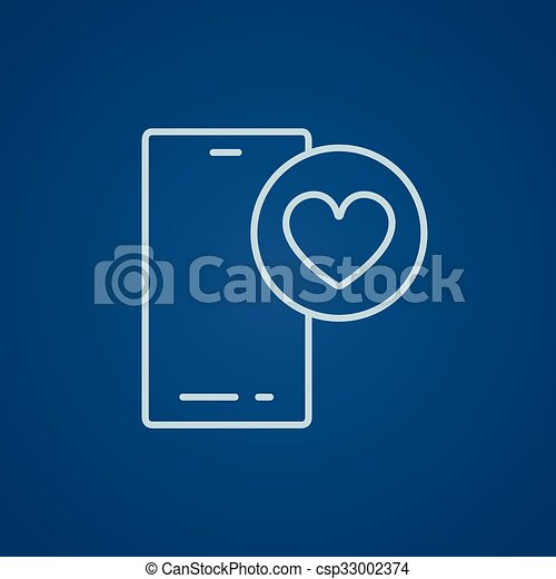 Smartphone with heart sign line icon. - csp33002374