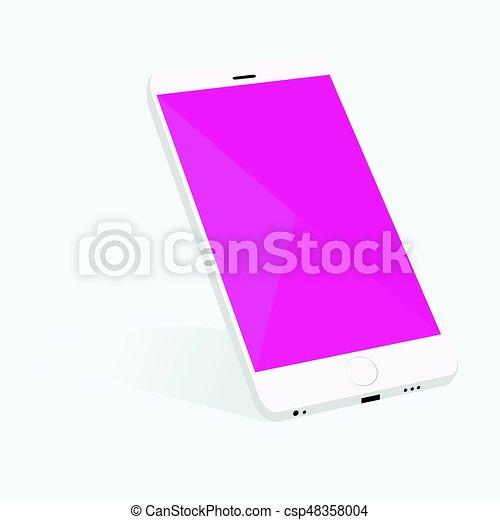 Smartphone with material design screen setting on forty five degree and  soft shadow background
