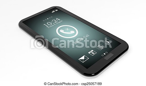 Smartphone with missed call notification on screen isolated on white - csp25057189