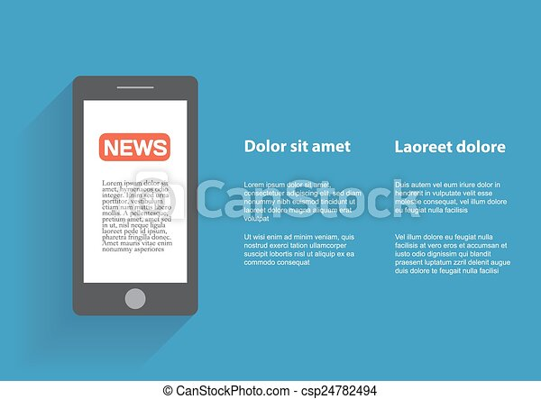 Smartphone with news icon on the screen - csp24782494