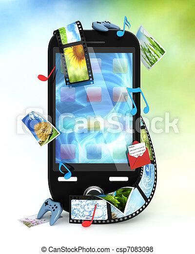 Smartphone with photos, video, music, and games - csp7083098