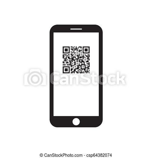 Smartphone with qr code icon on the screen