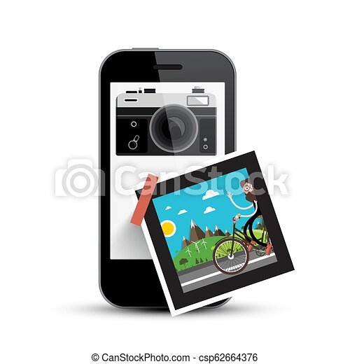 Smartphone with Retro Camera and Picture on Paper. Photography App on Cell Phone. - csp62664376