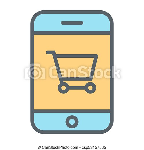 Smartphone with Shopping Cart Pixel Perfect Vector Thin Line Icon 48x48. Simple Minimal Pictogram - csp53157585