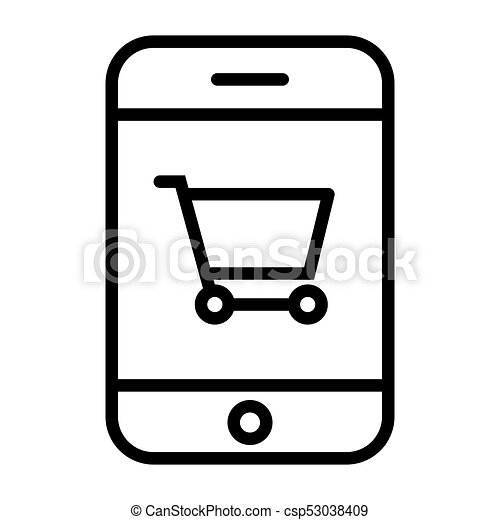 Smartphone with Shopping Cart Pixel Perfect Vector Thin Line Icon 48x48. Simple Minimal Pictogram - csp53038409