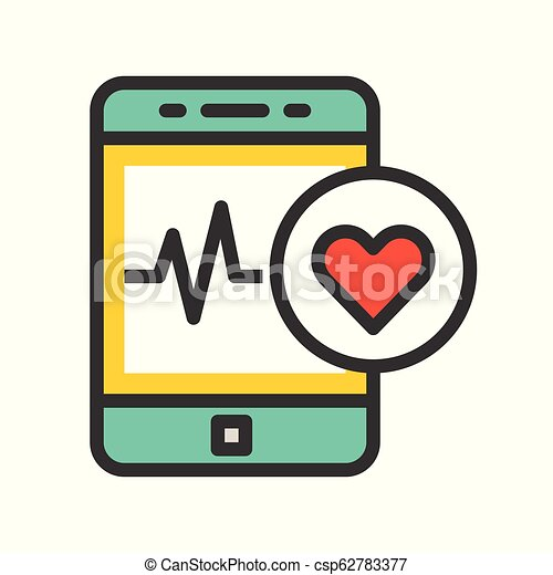Smartphone with vital signs check function, vector illustration - csp62783377
