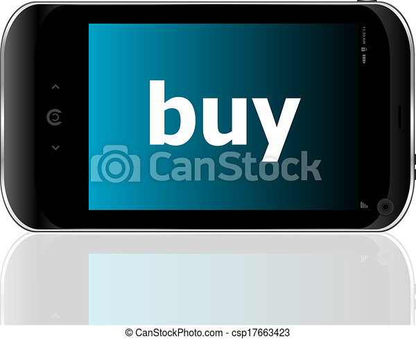 smartphone with word buy on display, business concept - csp17663423