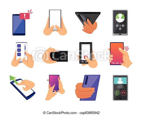 smartphones, conjunto, fondo blanco, iconos, moderno - csp83885942