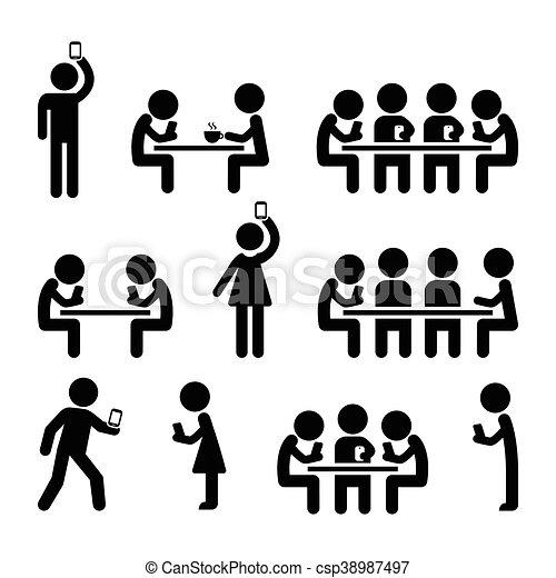 smartphones, ludzie, ikony - csp38987497