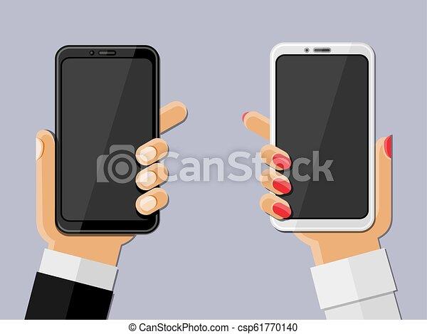 smartphones., vektor, illustration., halten hände - csp61770140
