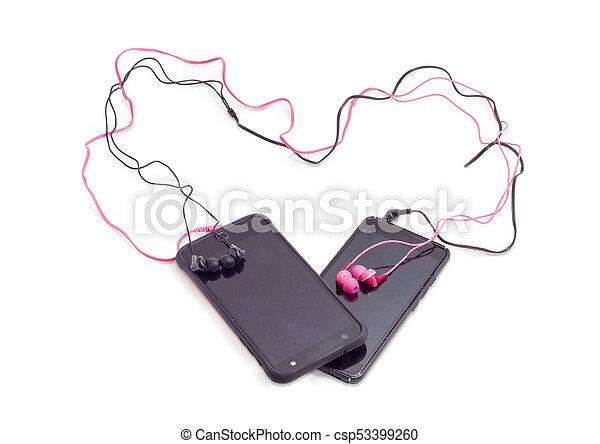 Smartphones, zwei, verbunden, rotes , paar, schwarz, kopfhörer. Herz ...