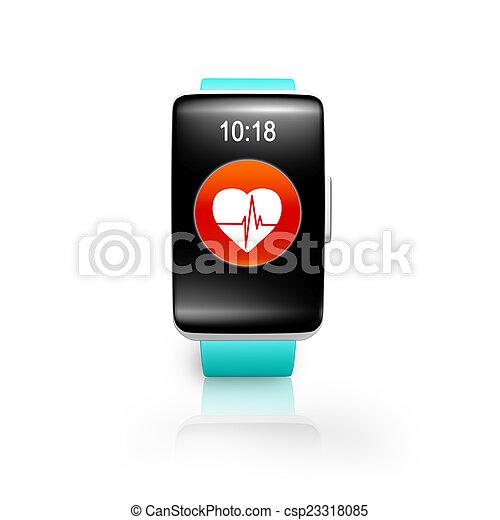 Una banda verde brillante, reloj de pantalla curvado con salud roja - csp23318085