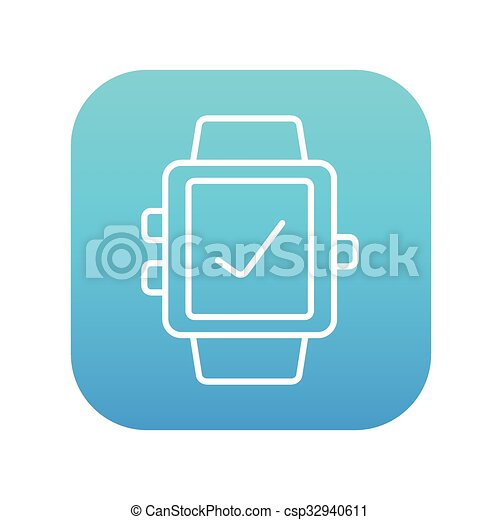 Smartwatch with check sign line icon. - csp32940611