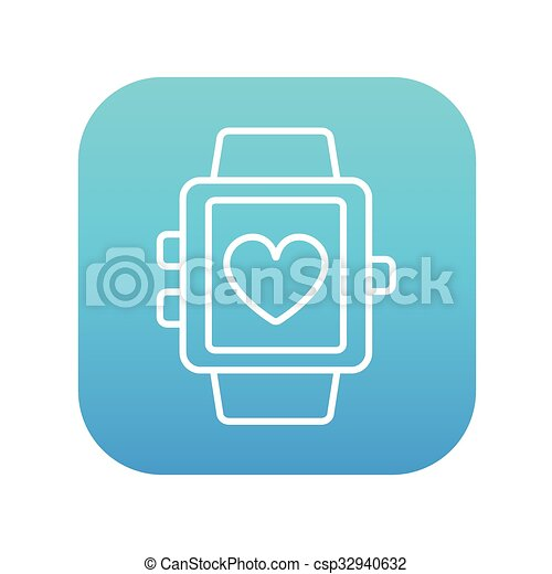 Smartwatch with heart sign line icon. - csp32940632