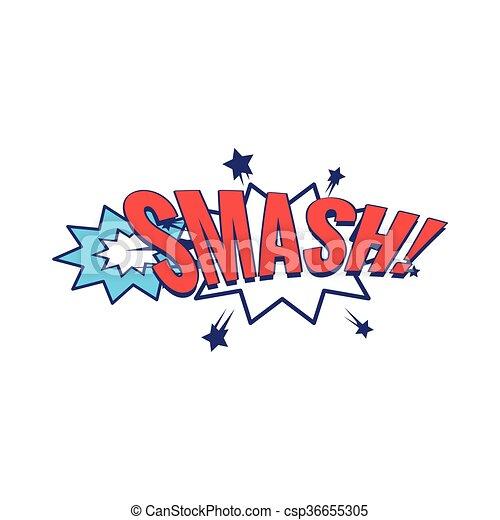 smash comic speech bubble bright color classic comic book style flat