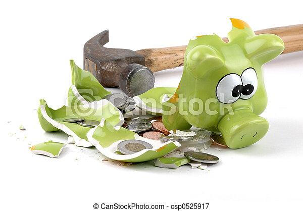 Smashed Piggybank-Canadian - csp0525917
