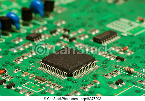 smd printed electronic circuit board with micro controller and rh canstockphoto com