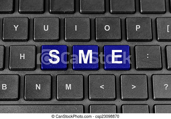 SME or Small and medium-sized enterprises word on keyboard - csp23098870